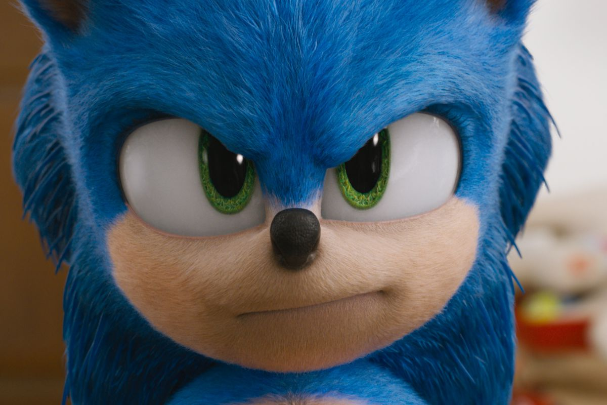 Sonic the Hedgehog - Sonic frowns into the camera