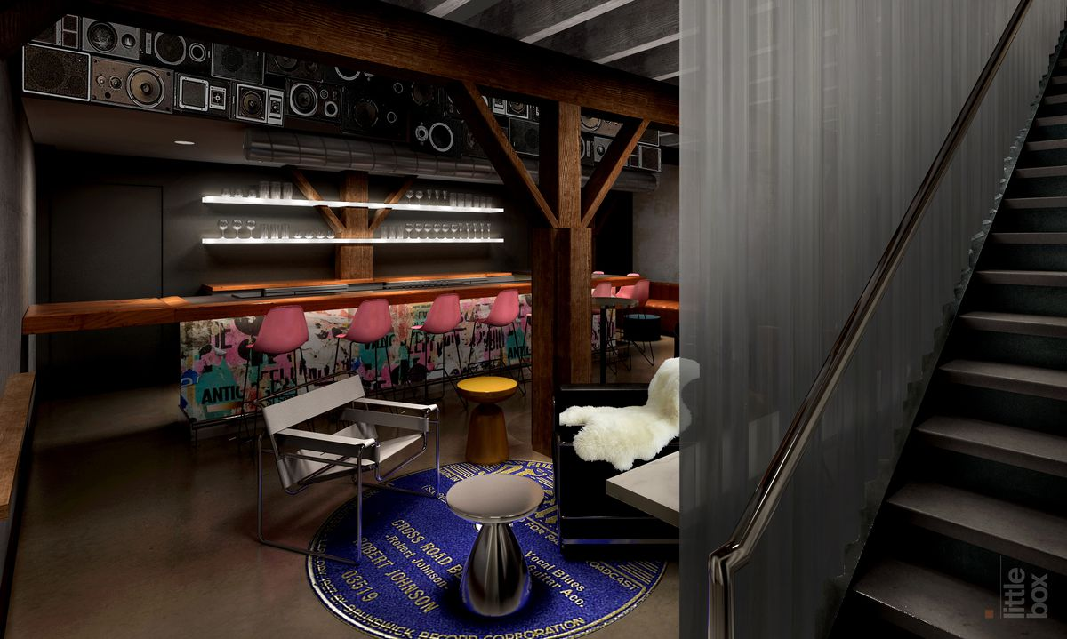 A rendering of a downstairs bar with speakers over it, stills behind it, and some modern furniture