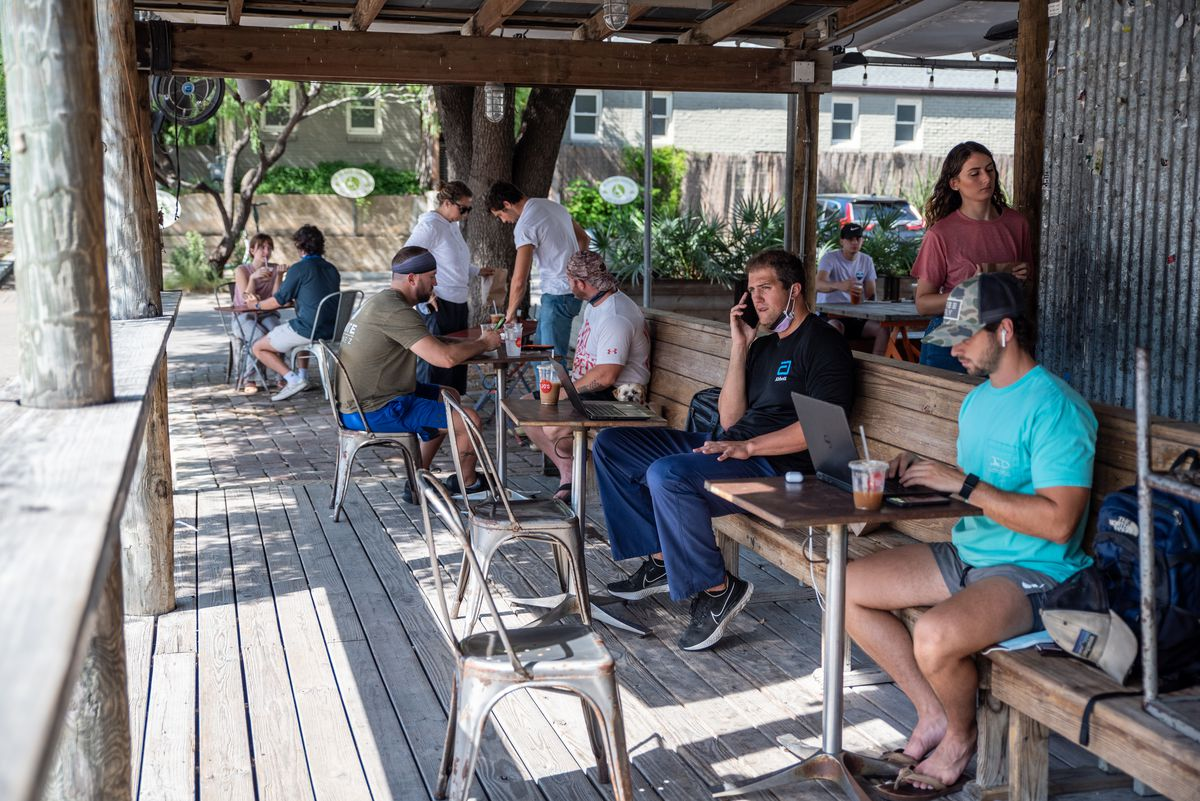The socially distanced patio setup at Jo's Coffee on South Congress in June