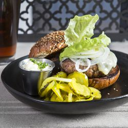 "Union Standard Burger— Jubilee Hilltop Ranch beef, ""everything"" potato roll, cheddar, bibb lettuce, marrownaise, sweet onion, bread and butter pickles"