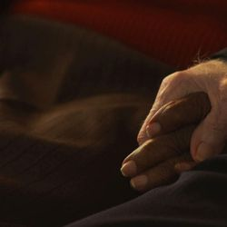 """Edith and Eddie hold hands in the Oscar-nominated documentary short """"Edith+Eddie."""""""