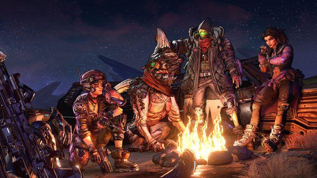 Vault hunters around a campfire in Borderlands 3