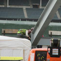 Working in the right-field bleachers -