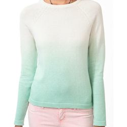 """<b>Forever 21</b> Ombré Raglan Sweater in pistachio/cream, <a href=""""http://www.barneys.com/Ohne-Titel-Colorblock-Sweater/502588103,default,pd.html?cgid=womens-sweaters&index=18#"""">$22.80</a>"""
