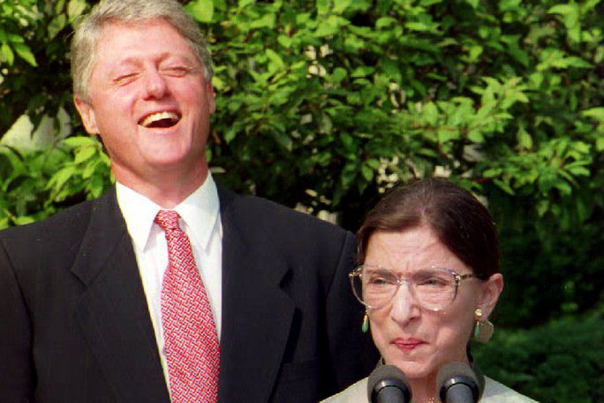 President Bill Clinton and eventual Supreme Court nominee Ruth Bader Ginsburg, in 1993