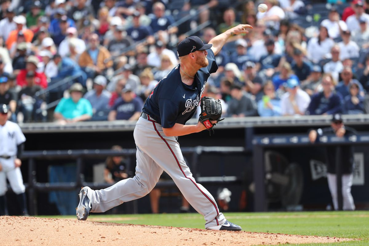 Atlanta Braves relief pitcher Will Smith throws a pitch during the fifth inning against the New York Yankees at George M. Steinbrenner Field.