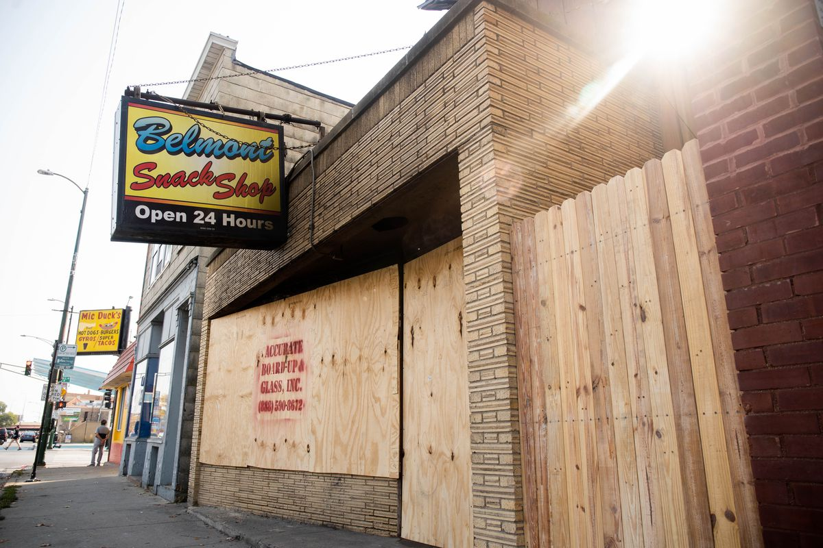Belmont Snack Shop, located at 3407 W. Belmont Ave. in the Avondale neighborhood, pictured Saturday morning. The second floor of the building caught fire Thursday night, according to the Chicago Fire Department.