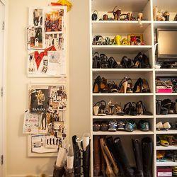 Rachel's wall of shoes.