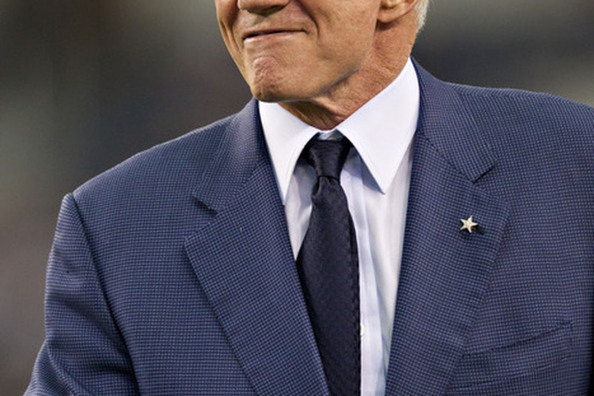ARLINGTON, TX - OCTOBER 23:   Owner Jerry Jones of the Dallas Cowboys before a game against the St. Louis Rams at the Cowboy Stadium on October 23, 2011 in Arlington, Texas.  The Cowboys defeated the Rams 34 to 7.  (Photo by Wesley Hitt/Getty Images)
