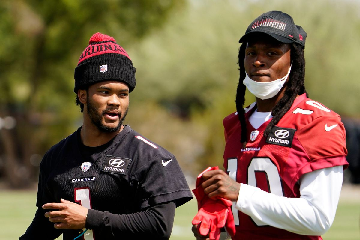 Arizona Cardinals quarterback Kyler Murray (1) and wide receiver DeAndre Hopkins (10) during voluntary Organized Team Activities at Dignity Health Training Facility