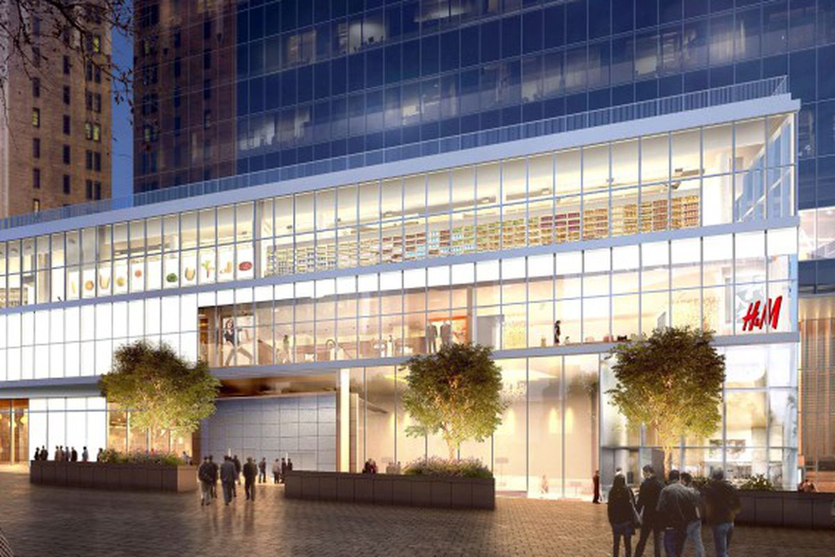 A rendering of H&M's new flagship at Westfield World Trade Center