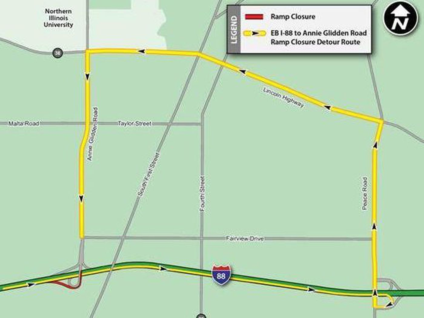 Ramp, lanes closing for 2 weeks on I-88 in DeKalb - Chicago