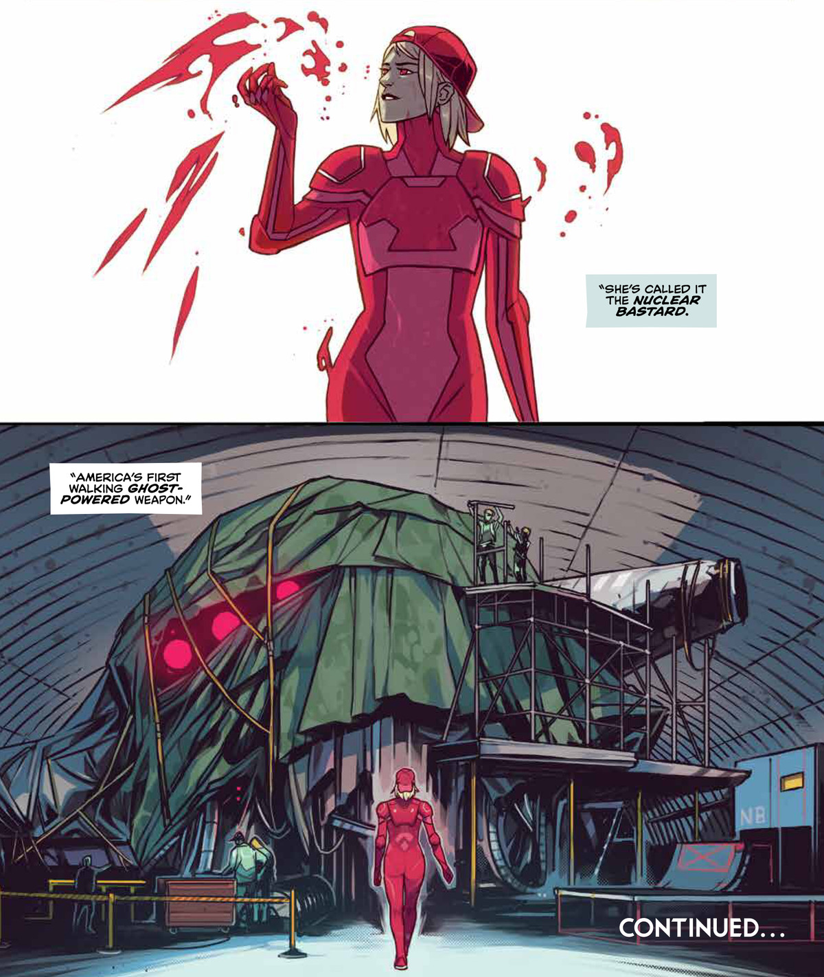 """A woman in a red backwards baseball cap and a red jumpsuit surrounded by floating red shapes walks into an airplane hangar where a giant shape is concealed under a tarp, a narration box says """"She's called it the Nuclear Bastard, America's first walking ghost-powered weapon,"""" in Home Sick Pilots #5, Image Comics (2021)."""