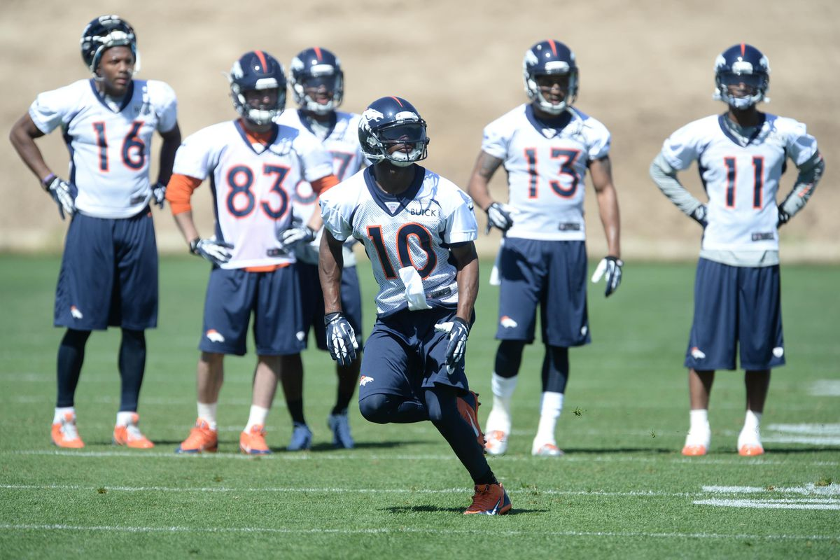 Emmanuel Sanders makes a catch at mini-camp, as other Broncos receivers look on.