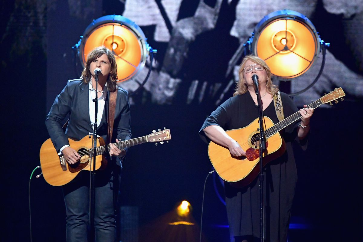 Musicians Amy Ray (L) and Emily Saliers of Indigo Girls perform onstage at the 32nd Annual Rock & Roll Hall Of Fame Induction Ceremony at Barclays Center on April 7, 2017 in New York City.