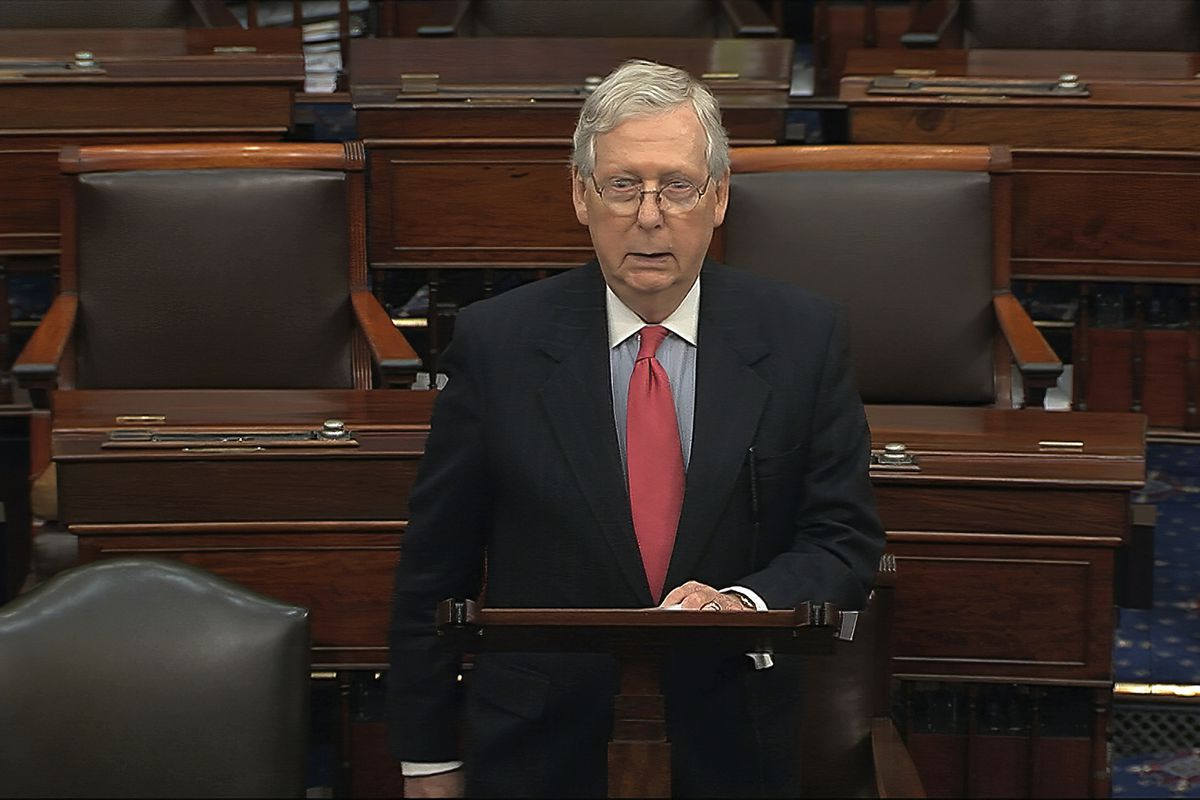 In this image from video, Senate Majority Leader Mitch McConnell, R-Ky., speaks on the Senate floor at the U.S. Capitol in Washington, Wednesday, March 25, 2020.