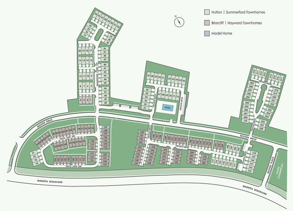 A rendering showing the arrangement of 46 townhomes.