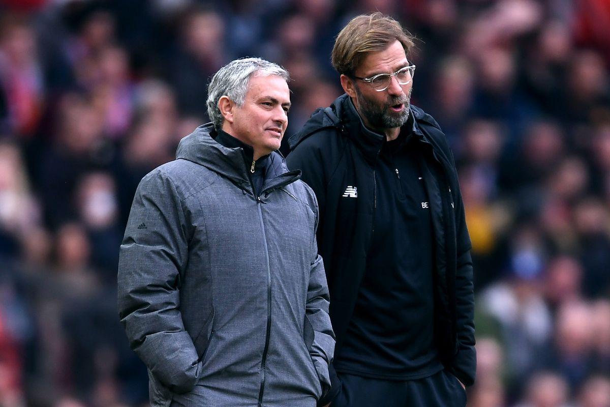 Jose Mourinho and Jurgen Klopp - Manchester United v Liverpool - Premier League