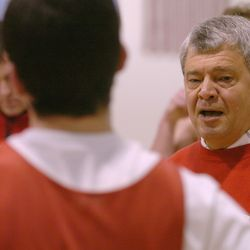 Judge boys prep basketball coach Jim Yerkovich coaches his players at Westminister College in Salt Lake February 20, 2006. Yerkovich is in his 40th year of coaching at Judge Memorial High School in Salt Lake City. Mark DiOrio/Deseret Morning News
