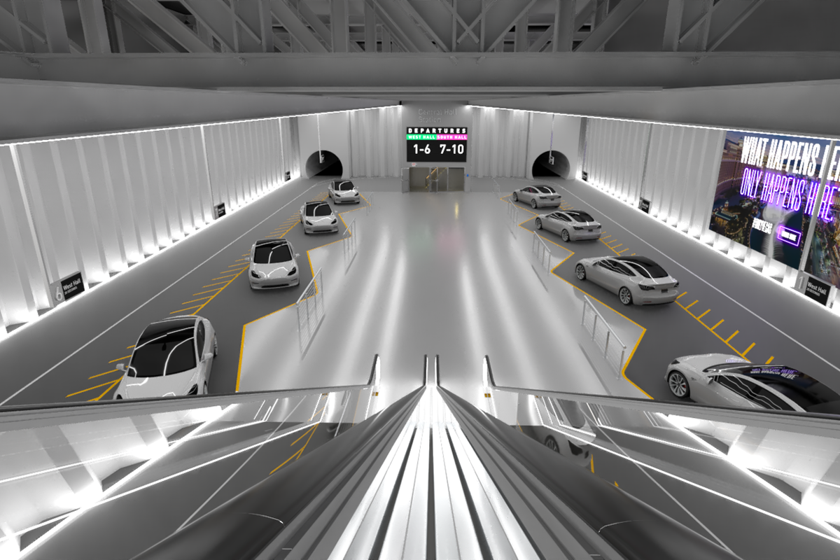A rendering of Elon Musk's Boring Company tunnels in Las Vegas, Nevada that looks like an underground parking garage shot from the perspective of an escalator descending into the space.