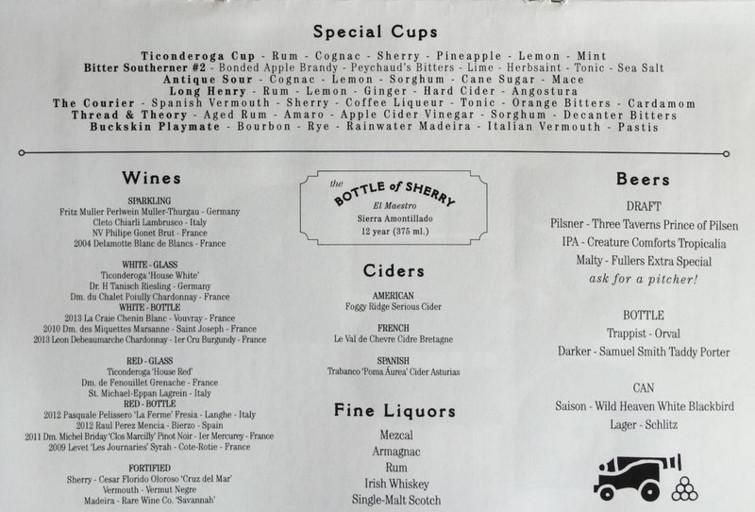 Ticonderoga Club drink menu