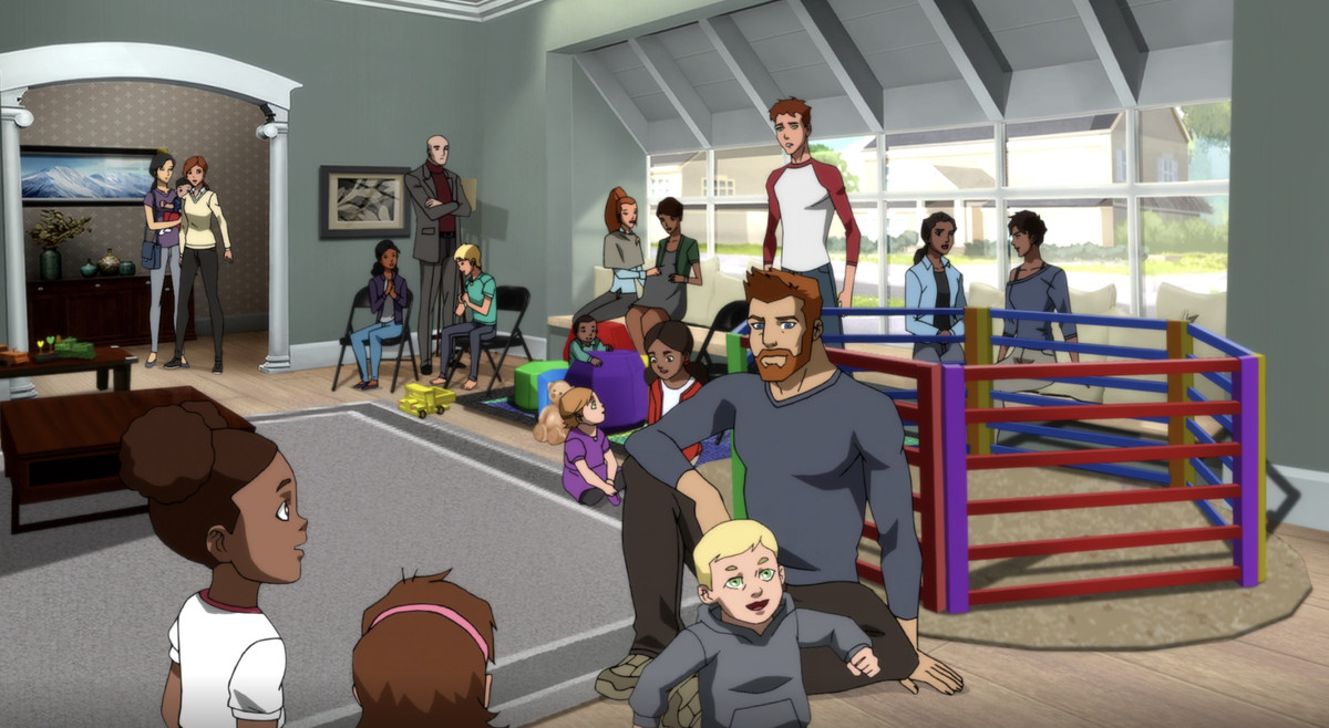 the full gathering of superhero children in Young Justice: Outsiders