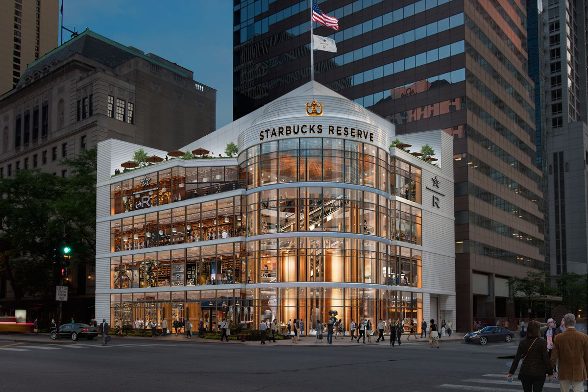 A computer generated graphic of a four-story Starbucks coming to downtown Chicago.