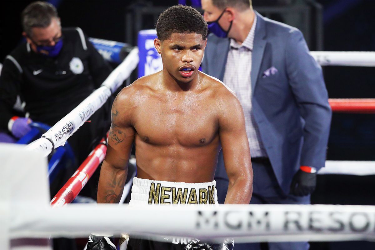 Shakur Stevenson reacts after defeating Felix Caraballo (not pictured) by TKO in the sixth round of their super featherweight bout at MGM Grand Conference Center Grand Ballroom on June 09, 2020 in Las Vegas, Nevada.