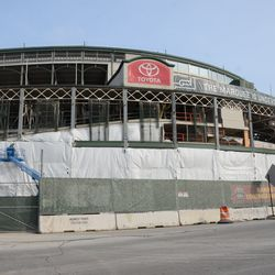 1:14 p.m. Another view of the front of the ballpark, along the Clark Street side -