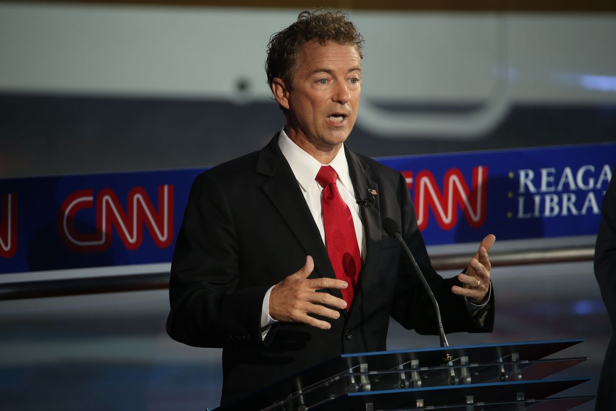 Republican presidential candidate Rand Paul take part in the presidential debates at the Reagan Library on September 16, 2015, in Simi Valley, California.