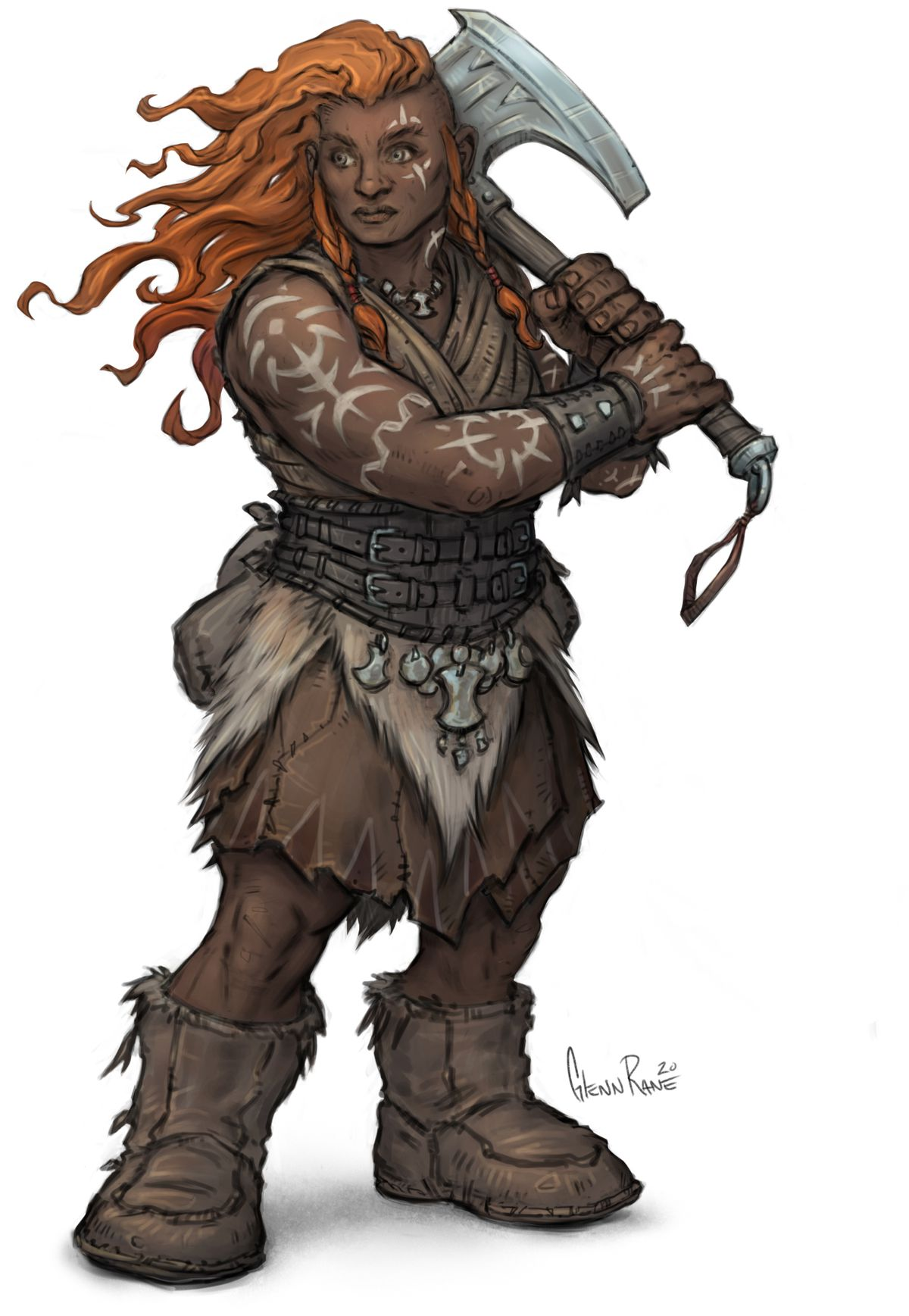 A female dwarf with long red hair. She's dressed in furs and carries a large axe.