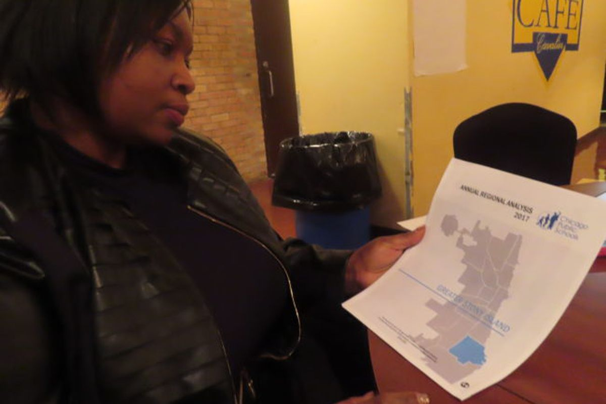 Chicago schools parent Sherretha Richardson attended a meeting in November to review facts and trends in the school district's Annual Regional Analysis focused on the Far South Side's Greater Stony Island Region.