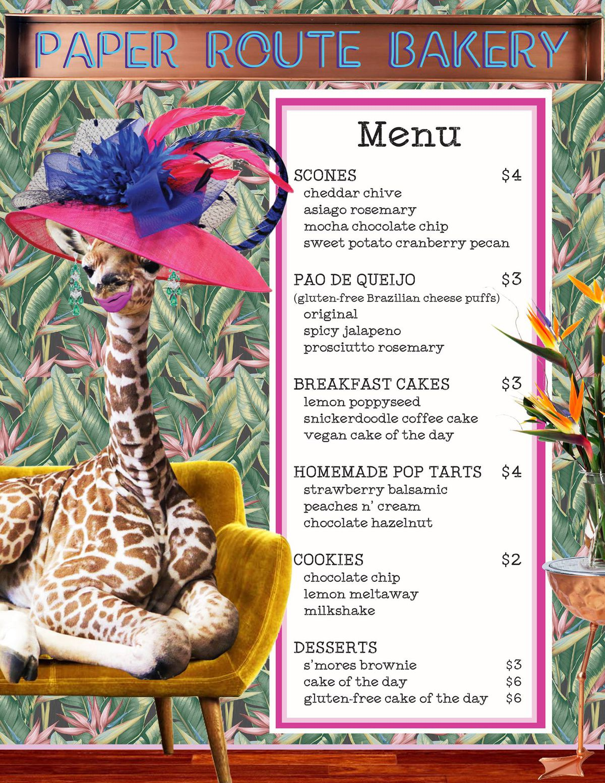Paper Route Bakery's working menu