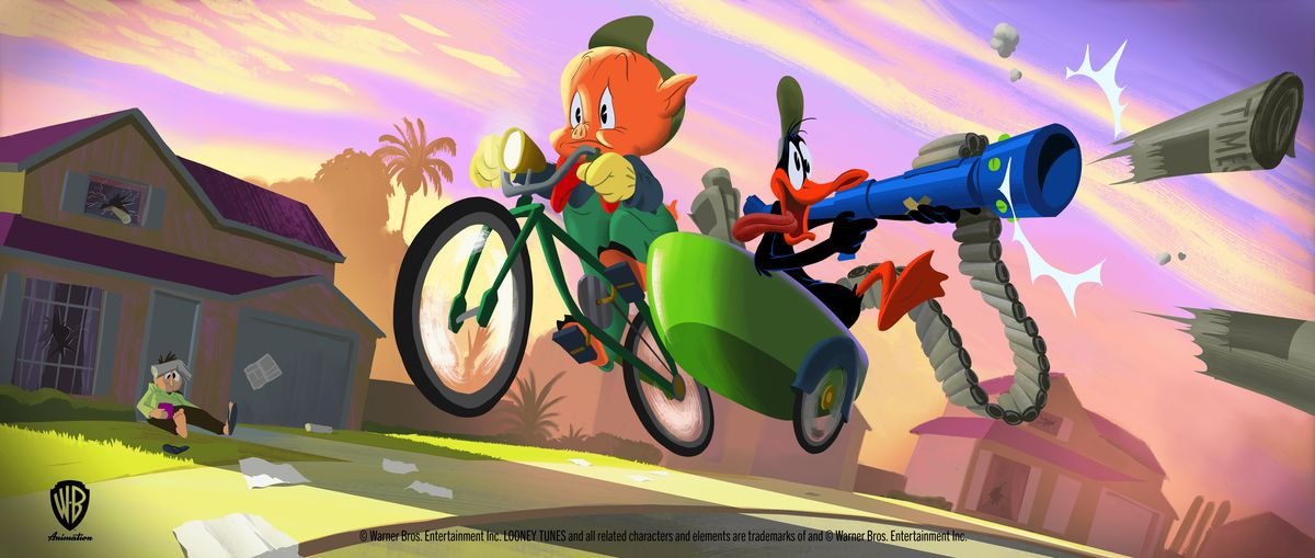 Porky and Daffy Duck ride in a bike and cart shooting newspapers with a newspaper gun in a new Looney Tunes movie concept art