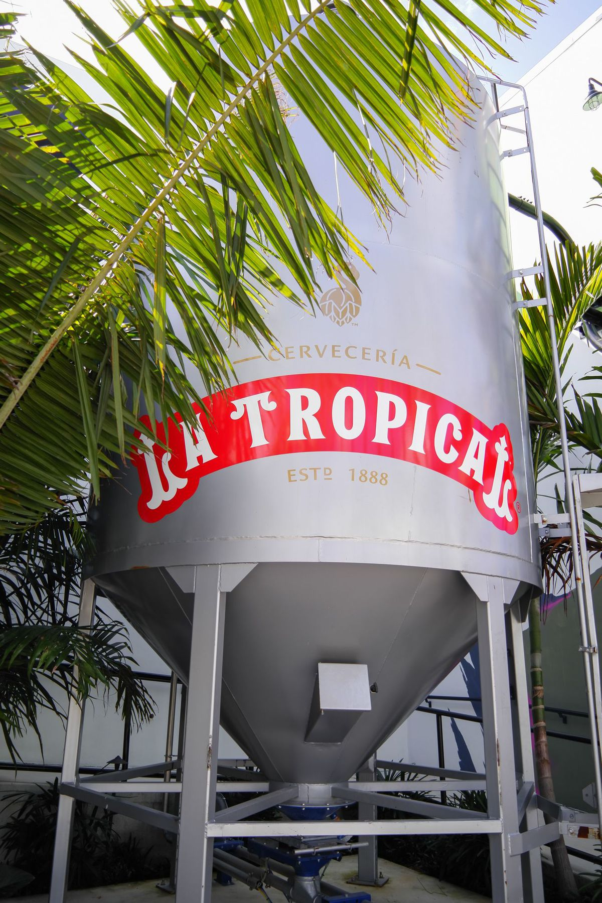 Brewing area with La Tropical signage on it