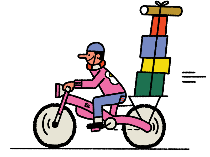 A person rides a pink bicycle which has an attached compartment stacked with various colorful packages. This is an illustration.