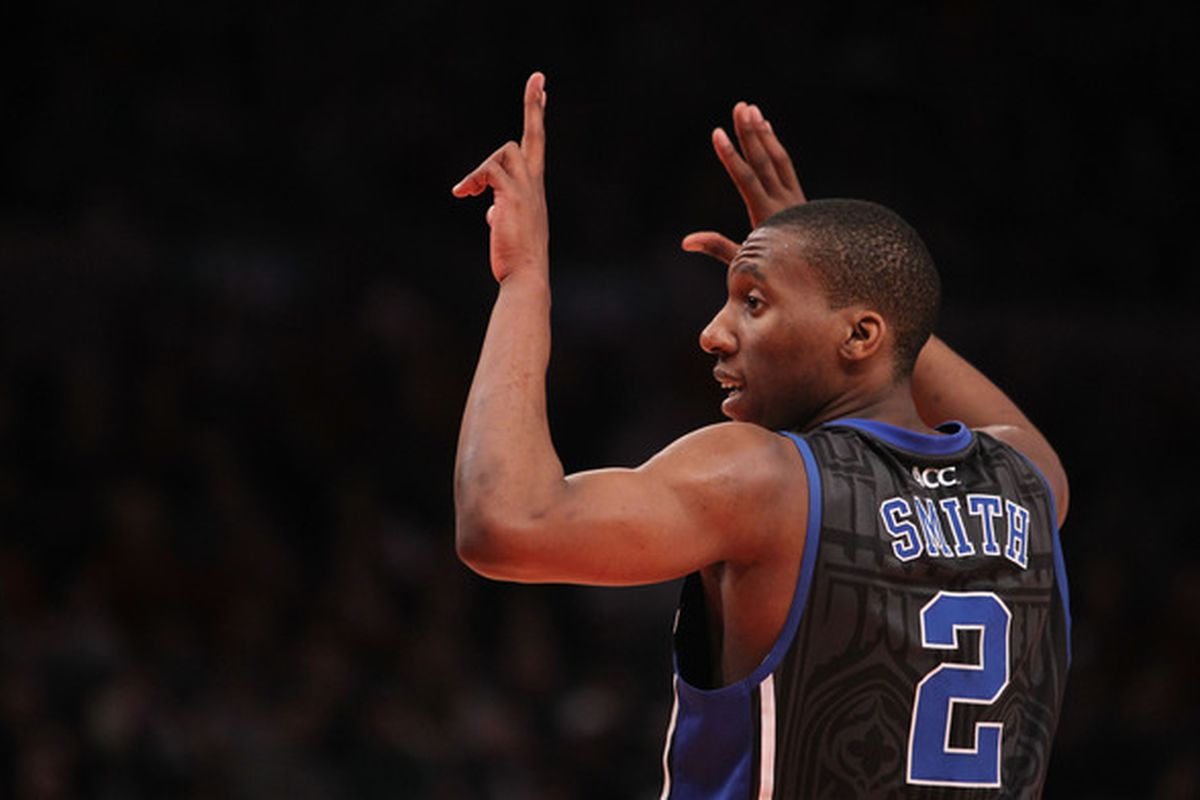 NEW YORK NY - JANUARY 30: Nolan Smith #2 of the Duke Blue Devils gestures against the St. John's Blue Devils at Madison Square Garden on January 30 2011 in New York City.  (Photo by Nick Laham/Getty Images)