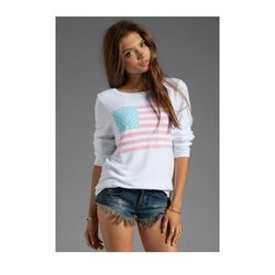 """<b>Wildfox Couture</b> <a href=""""http://www.revolveclothing.com/DisplayProduct.jsp?product=WILD-WK109&c="""">Pastel America Pullover</a>, $108"""