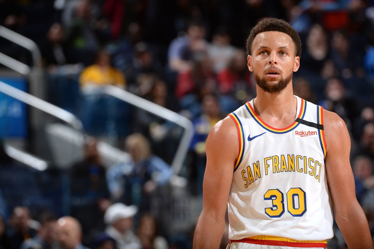 Stephen Curry #30 of the Golden State Warriors looks on during the game on March 5, 2020 at Chase Center in San Francisco, California.