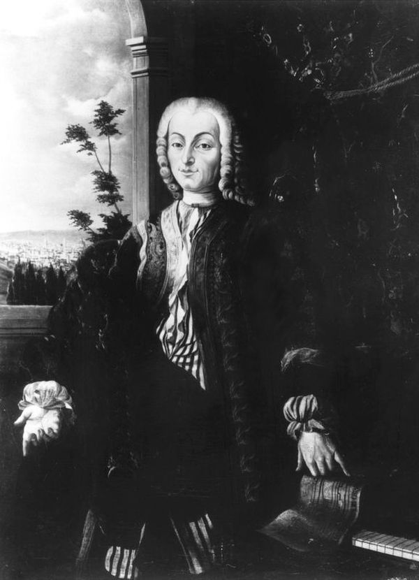 The only portrait of Bartolomeo Cristofori. In the bottom right corner, it's possible to see what looks like a piano.