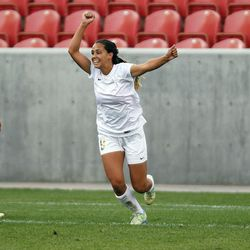Logan's Demi Lopez (9) reacts after scoring in the second half against Cedar in the 3A girls high school soccer championships at Rio Tinto Stadium in Sandy, Utah, Saturday, Oct. 24, 2015.