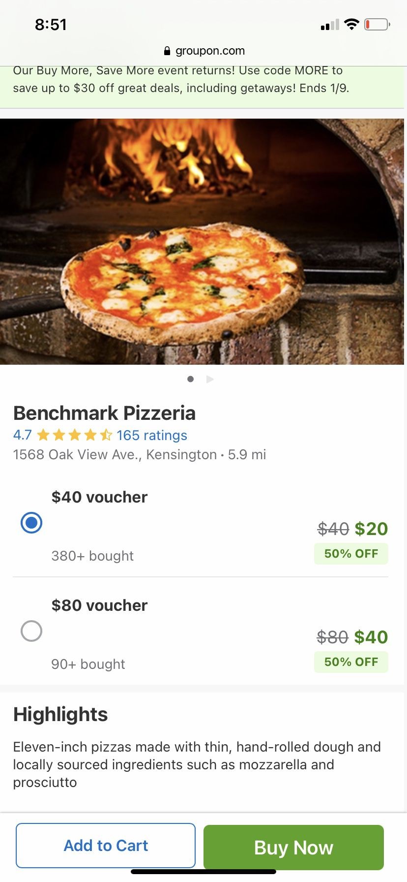 Screenshot of a $20 for $40 or $40 for $80 Groupon deal for Benchmark Pizzeria