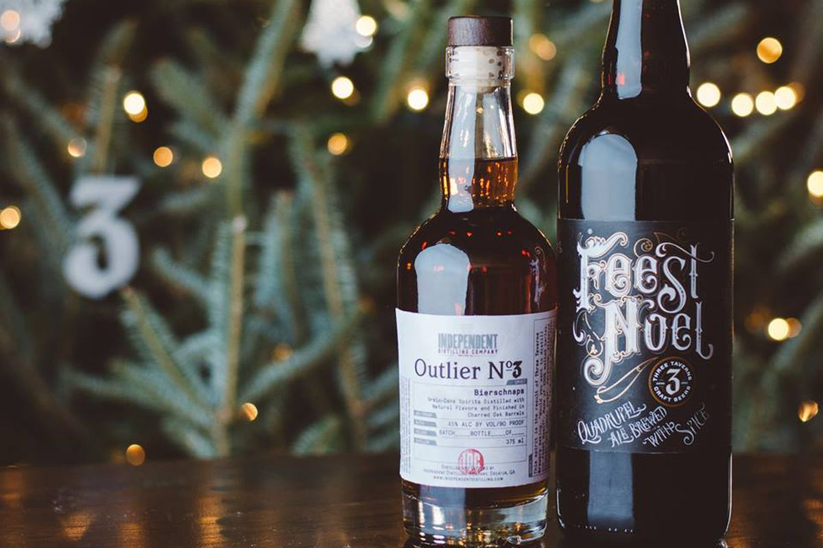 Bottles of Outlier No. 3 and Feest Noel Christmas Ale.