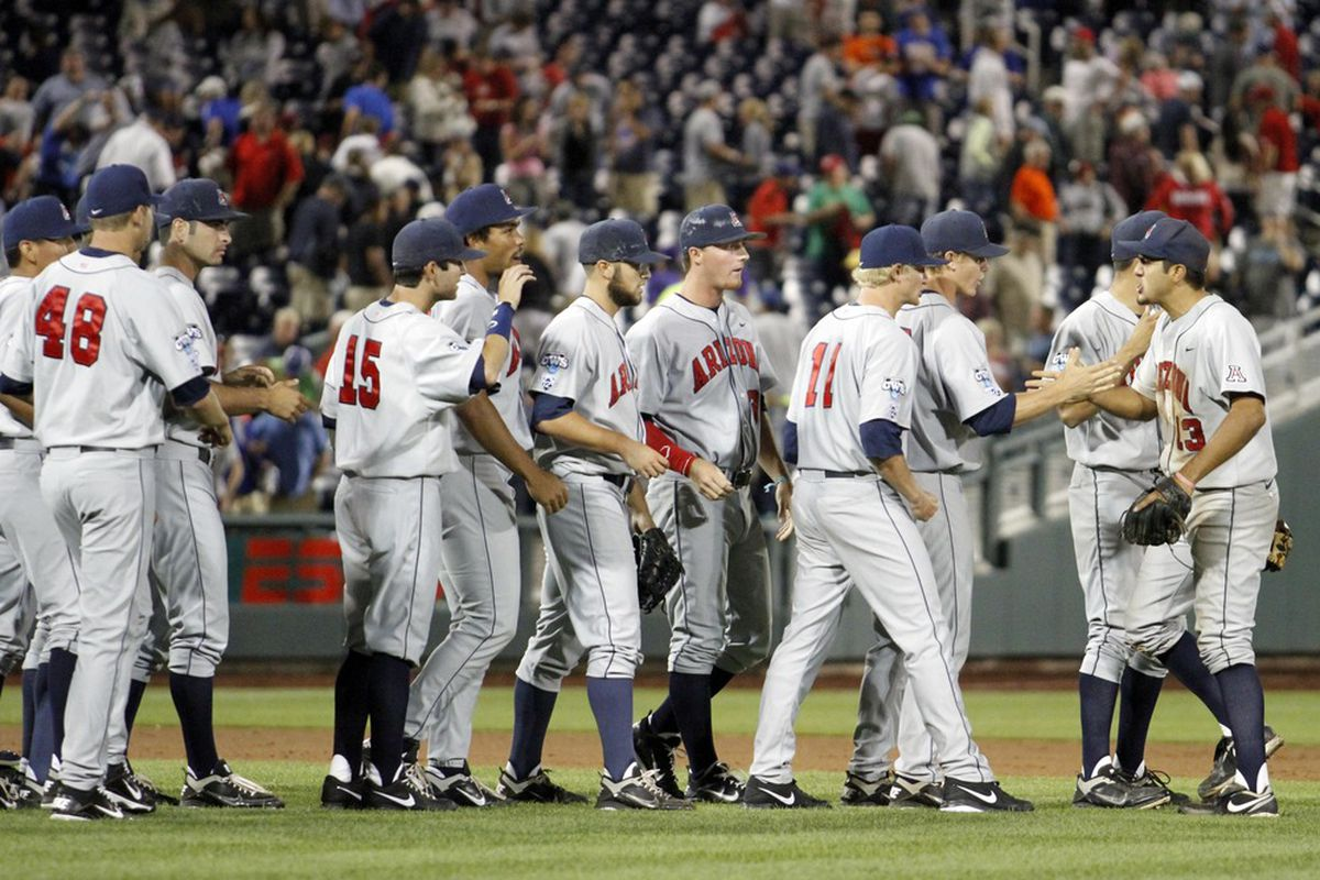 Arizona Wildcats celebrate after win at 2012 CWS