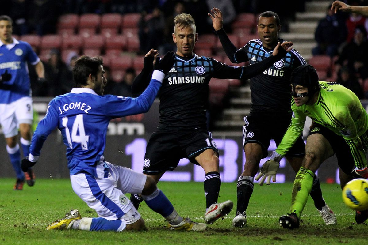 Jordi Gomez of Wigan Athletic scores an equalising goal during the Barclays Premier League match between Wigan Athletic and Chelsea at the DW Stadium.