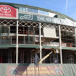 12:02 p.m. The Clark Street side of the front of the ballpark -