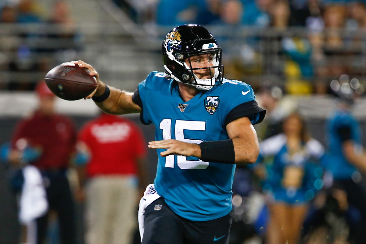 Jacksonville Jaguars quarterback Gardner Minshew drops to throw a pass during the second half against the Tennessee Titans at TIAA Bank Field.