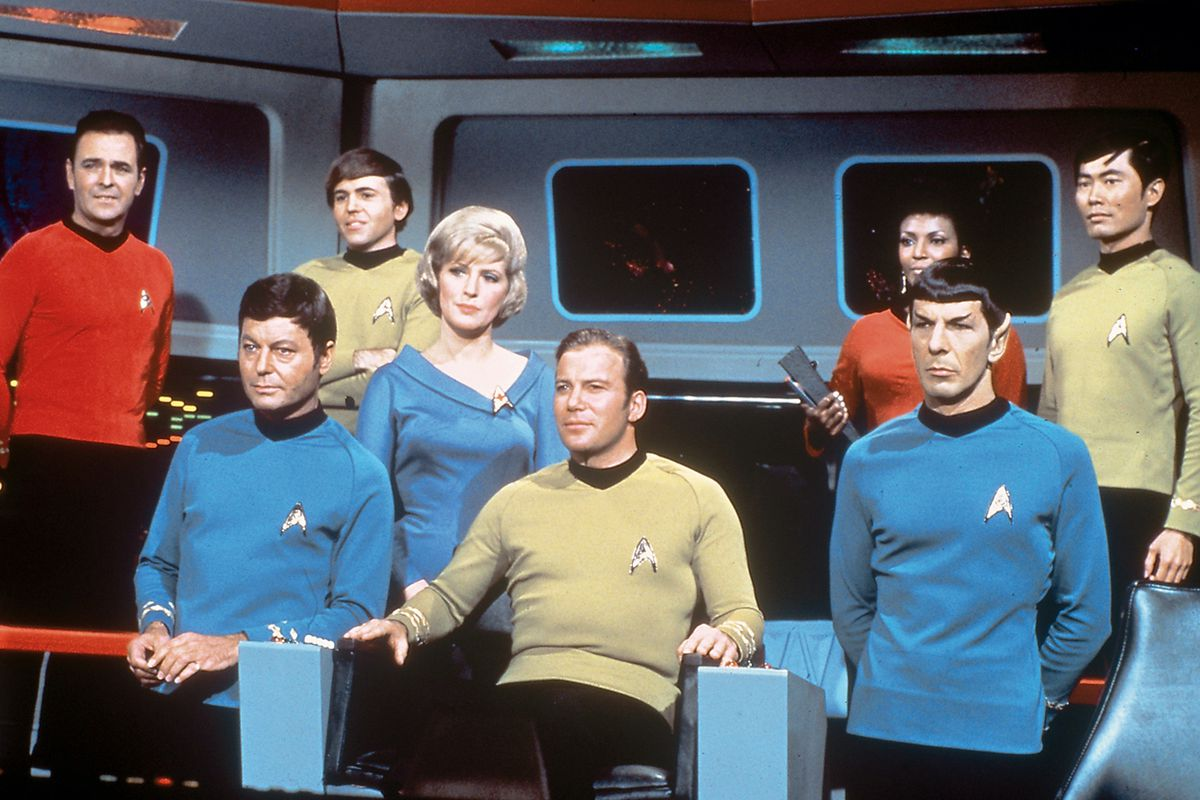 The bridge crew of the Enterprise in Star Trek: The Original Series.