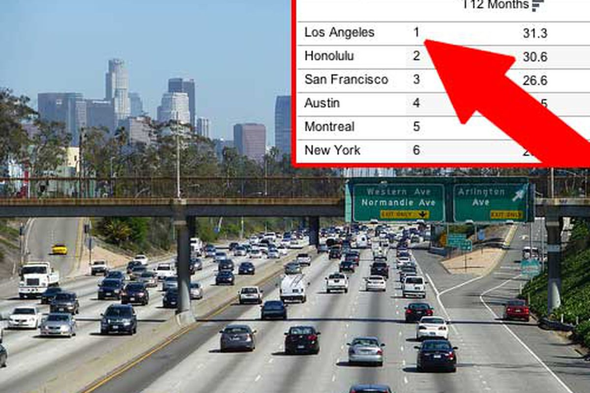 The Absolute Worst Times To Drive On Every Freeway In LA Curbed LA - Los angeles freeway map traffic