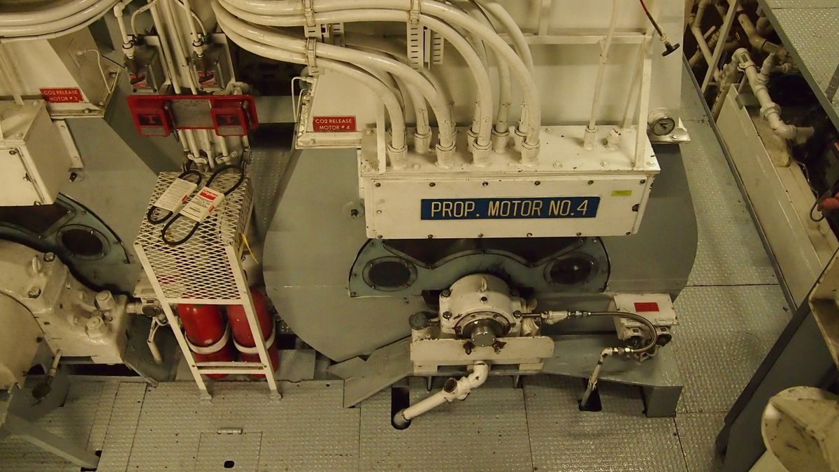 A piece of engine room equipment is labeled 'Prop Motor No. 4'